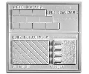 Architettura Romana. Opus quadratum (prospetto) e opus reticulatum (prospetto e sezione)