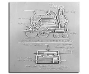 Schema di una locomotiva e schema del cassetto di distribuzione